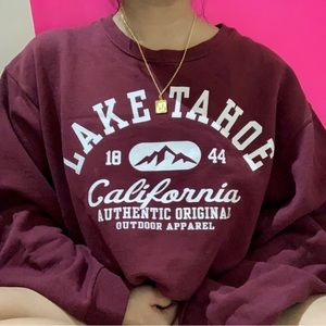 chunky lake tahoe maroon crewneck sweater ✧